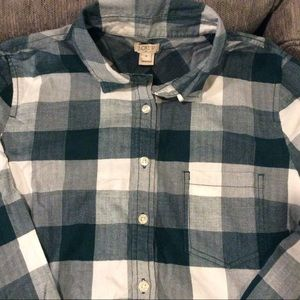 J CREW Shirt LS Size M Green/ White Plaid